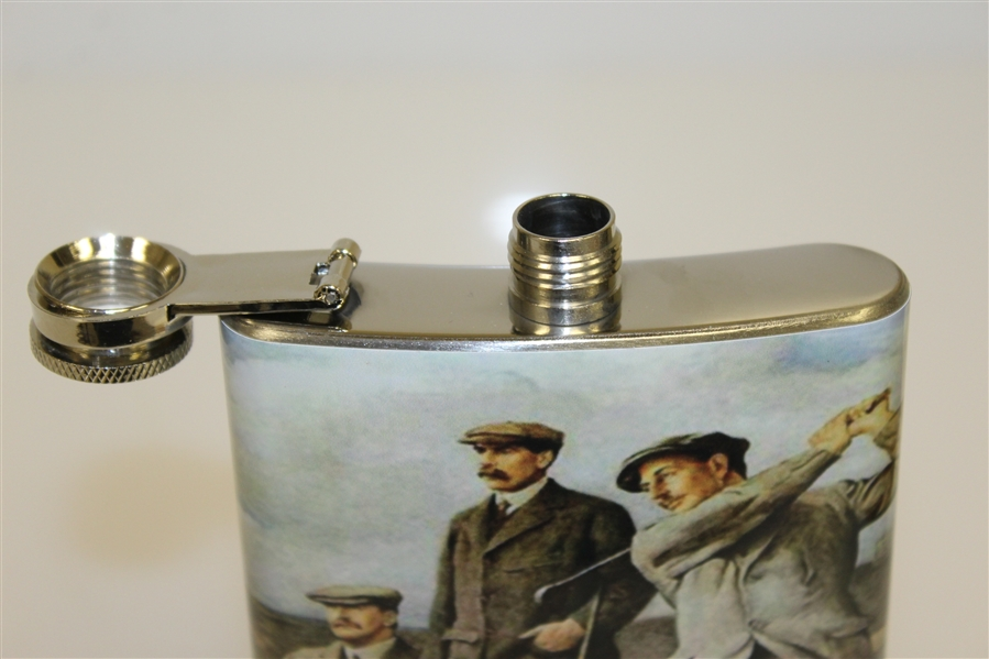 Classic The Great Triumvirate Themed Stainless Steel Hip Flask - 8oz
