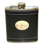 Barlow Leather Stainless Steel Vintage Golf Themed Pocket Flask - 7oz