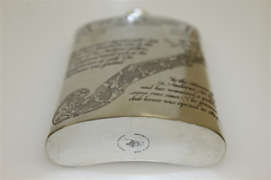St. Andrews 'The Old Course' Pewter Flask with Course Layout - Great Condition