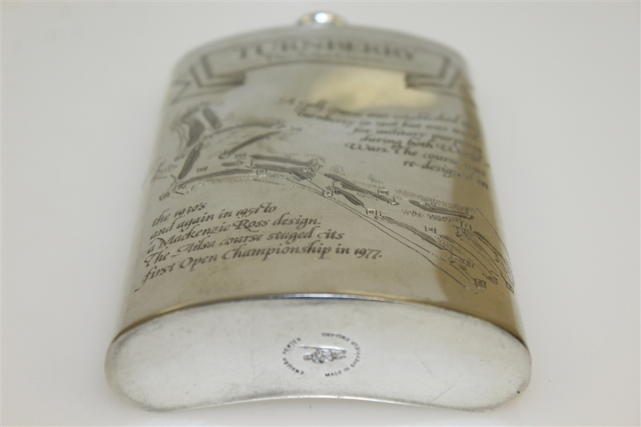 Turnberry 'The Ailsa Course' Pewter Golf Flask with Original Box & Funnel - Good Condition