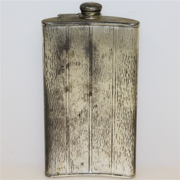 Circa 1920 Evans Nickel Silver Golf Flask - 7 Tall