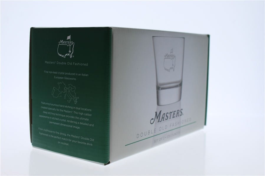 Masters Double Old Fashioned Glass w/ Frosted Etching Of The Masters Logo On Front