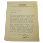 A. Pollard Simons Letter to Ben Hogan - Ben Hogan Club Decals and The Masters