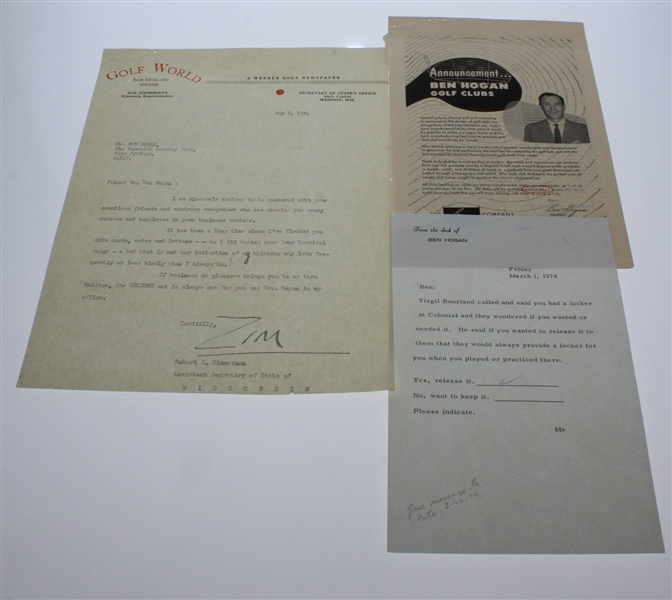 Assorted Letters to Ben Hogan from Fans and Copy Responses