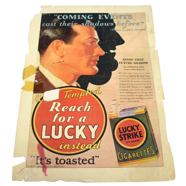 Vintage 1930 Lucky Strike Advertisement