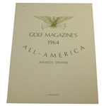 1964 Golf Magazines All-America Awards Dinner Memento Program