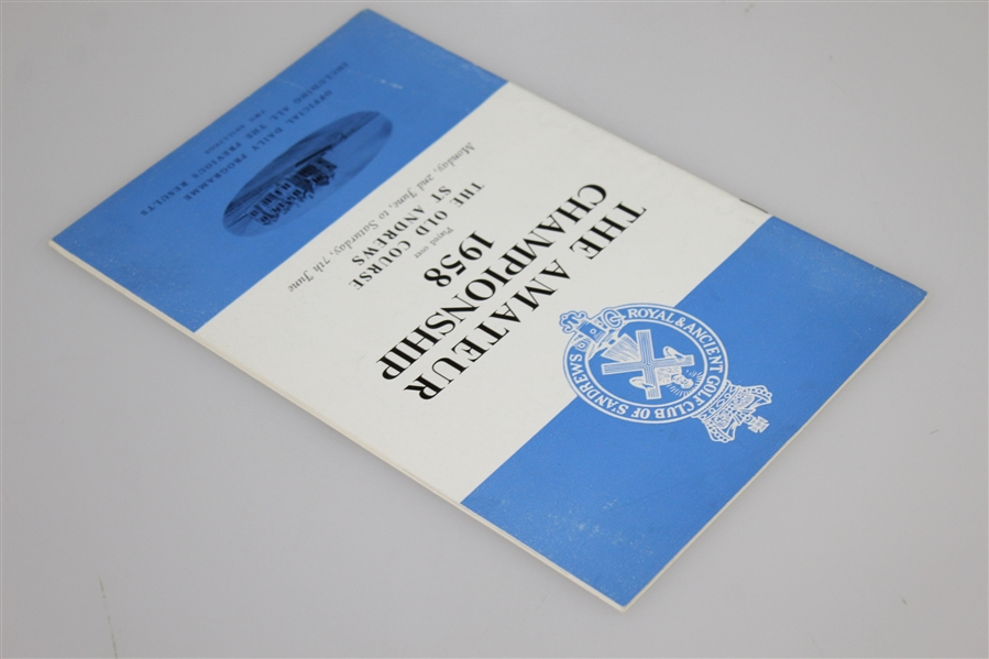 1958 British Amateur at The Old Course St. Andrews Program with Daily Draw Sheets