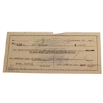 Sam Snead Signed 1952 Personal Check to Fred Corcoran JSA ALOA
