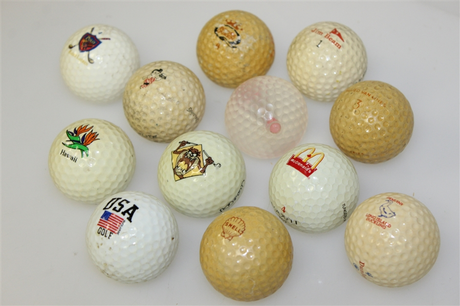Twelve Miscellaneous Logo Golf Balls - Hawaii, McDonalds, Jim Beam and other