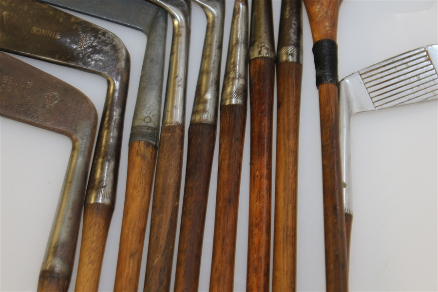 Vintage Wooden Shaft Clubs with 1920's Canvas Golf Bag - 10 Clubs inc. 2 Junior Clubs