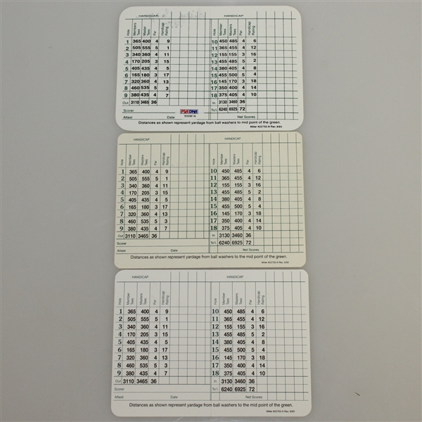 Byron Nelson, Doug Ford, & Billy Casper Signed Augusta National Scorecards JSA ALOA