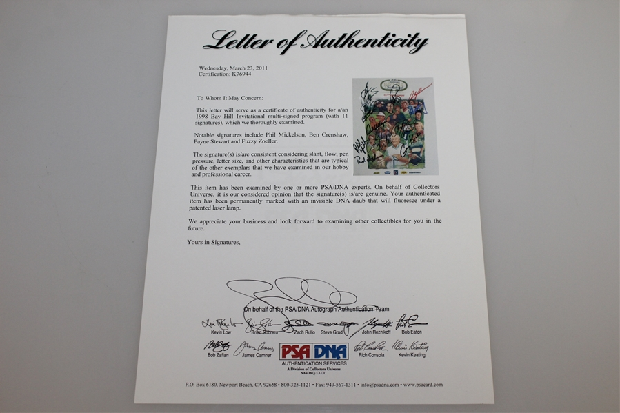 Mickelson, Stewart, & others Signed Bay Hill 20<sup>th</sup> Anniversary Program FULL PSA/DNA #K76944