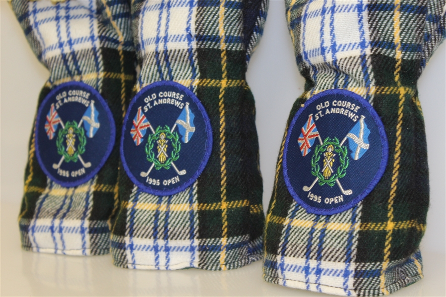1995 Open Championship at Old Course St. Andrews Set of Three Tartan Head Covers