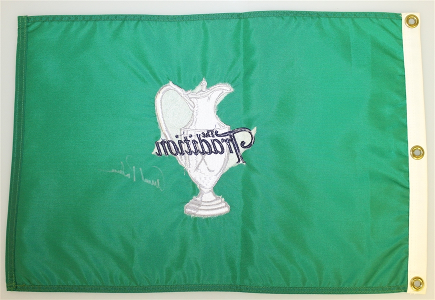 Arnold Palmer Signed 'The Tradition' Green Embroidered Flag in Silver JSA ALOA