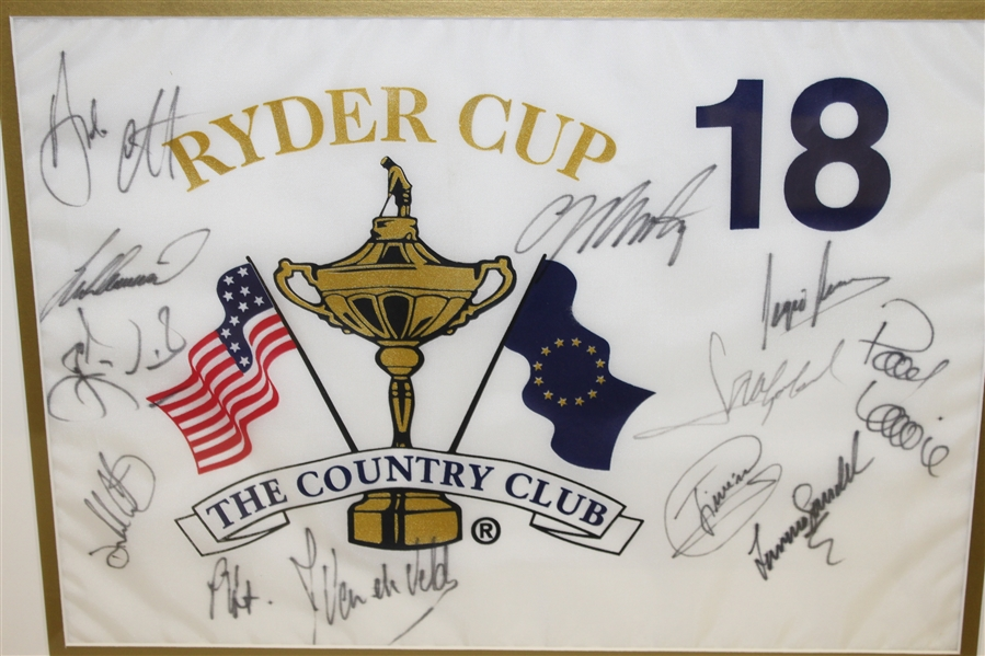 1999 Ryder Cup at The Country Club European Team Signed Flag - Framed JSA ALOA