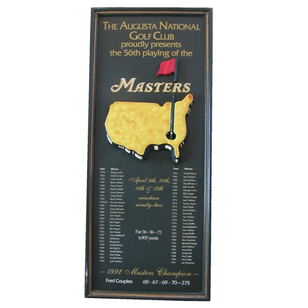 1992 Masters Tournament Wood Plaque Listing All Winners & Current Winner Fred Couples