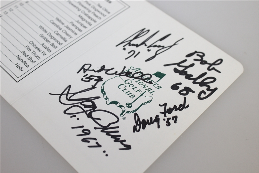 Multi-Signed Augusta National Golf Club Scorecard - JSA AOLA