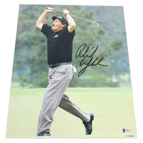 Phil Mickelson Signed Action Photo w/ Beckett Authentication #D65135