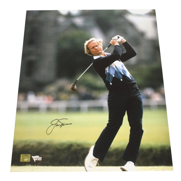 Jack Nicklaus Signed 16x20 1978 Open Driving Photo w/Golden Bear Authentication Stickers