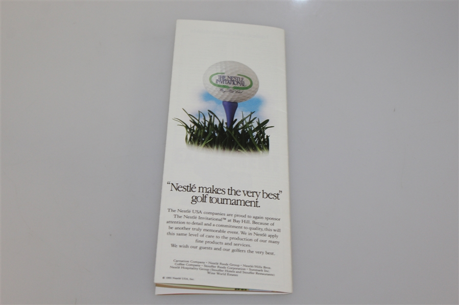 Arnold Palmer Signed 1991 Nestle Invitational Pairing Guide JSA ALOA