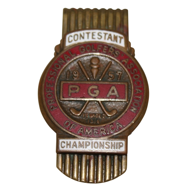 1957 PGA Championship Contestant Player Money Clip Badge - Lionel Herbert Winner