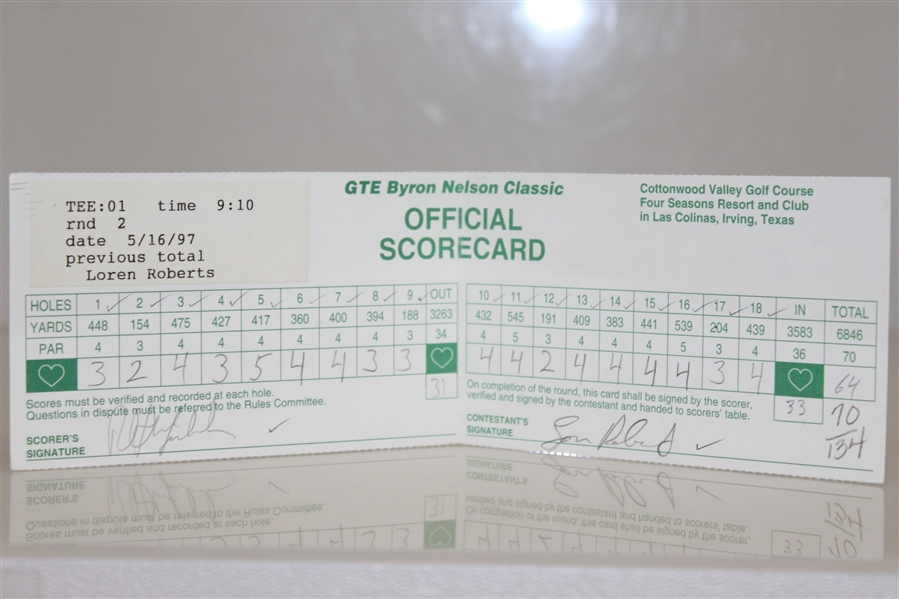 Phil Mickelson Signed 1997 GTE Byron Nelson Classic Scorecard PSA #85725