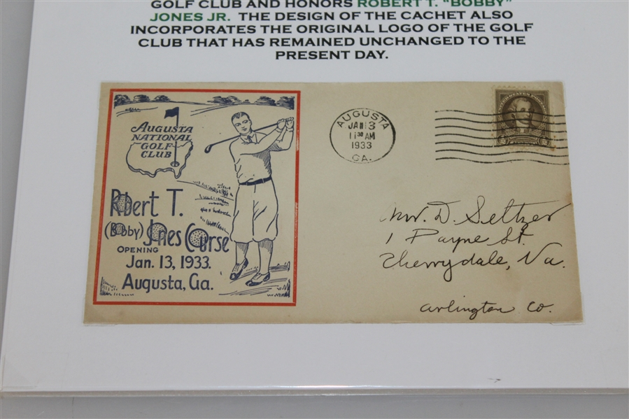 1933 Augusta National First Day Cover Cachet -Date Stamped 1/13/33