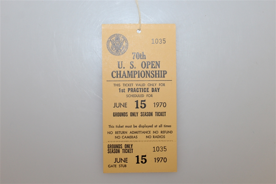 1970 US Open Press Badge, Parking Pass, Three Unused Tickets