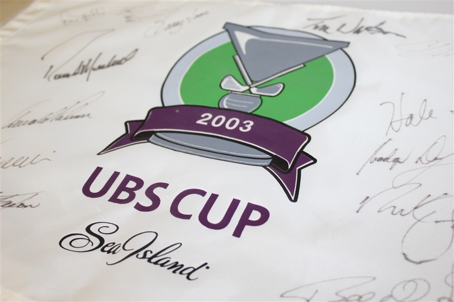 2003 UBS Cup Flag Signed By Arnold Palmer, Tom Watson, & Others JSA AOLA