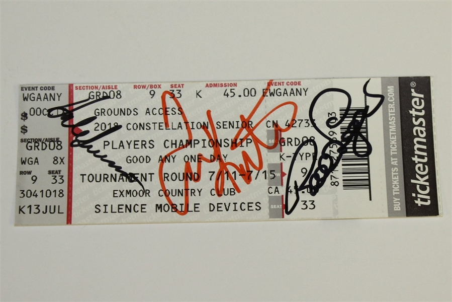 Assorted Golf Tournament Tickets & Senior Players Championship Ticket Signed by H.O.F., Hale Irwin, Tom Kite, Bernhard Langer JSA/AOLA