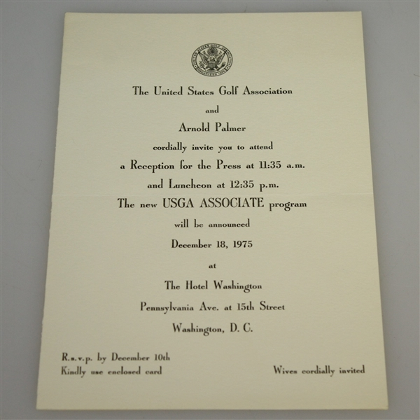 USGA Journal Vol. 1-8 (1948-1956) w/ USGA and Arnold Palmer 'Reception for the Press' Invitation