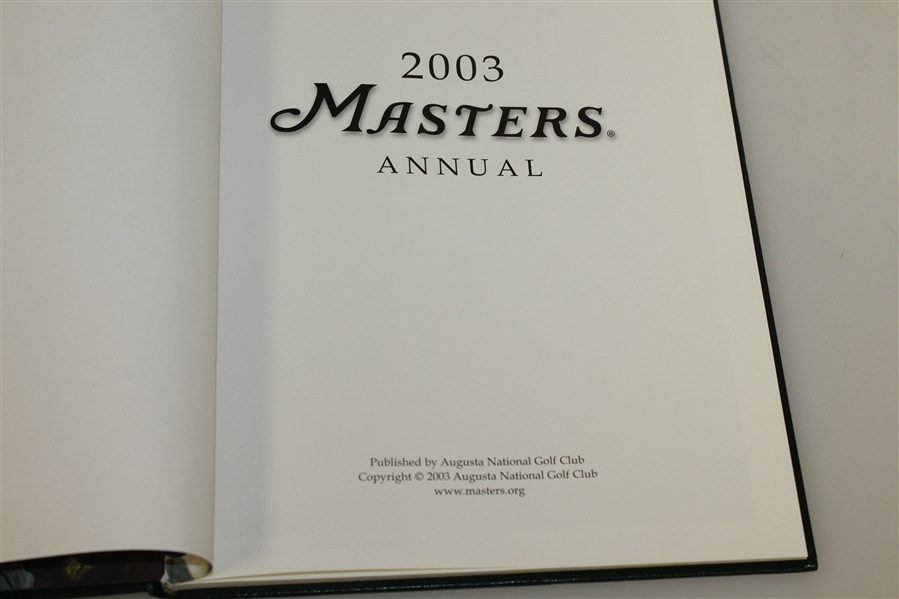 2003 Masters Tournament Annual - Mike Weir Win