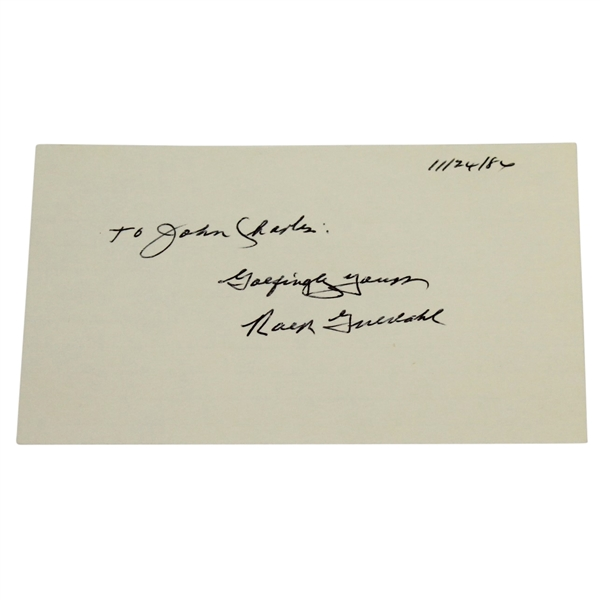 Ralph Guldahl Signed Index Card-Masters Champ 1939, US Open 1937 & '38 JSA ALOA