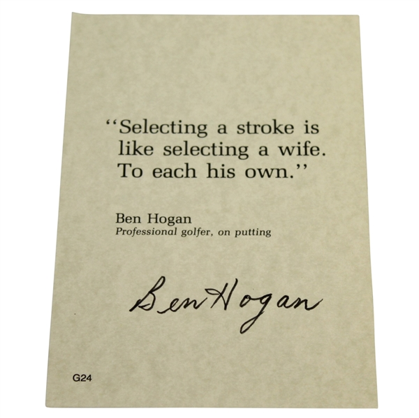 Ben Hogan Signed Quote On His Putting Stroke JSA ALOA