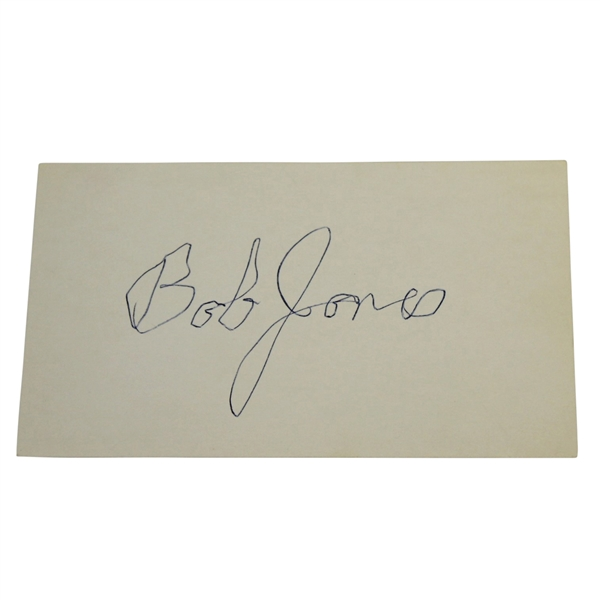 Robert Bob T. Jones Jr. Signed Index Card JSA ALOA