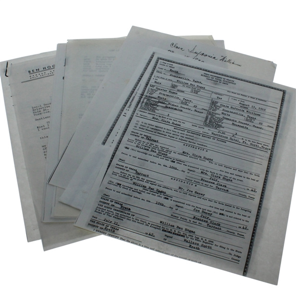 Assorted Photocopies of Documents and Letters of Ben Hogan