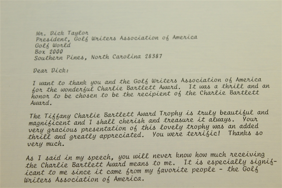 Patty Berg Signed Letter Of Thanks To Dick Taylor For The Charlie Bartlett Award JSA ALOA