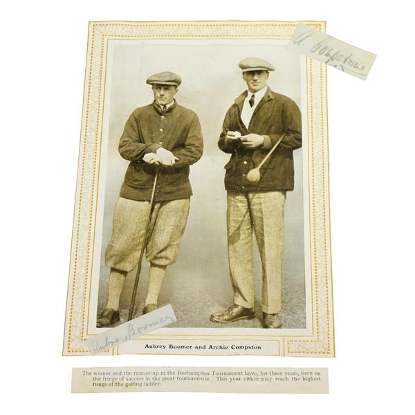 Aubrey Boomer & Archie Compston  Signed Cuts On Photo JSA AOLA