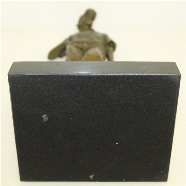 Classic Cast Bronze Vintage Golfer w/ Marble Base Signed by Artist Cesaro - Excellent Condition