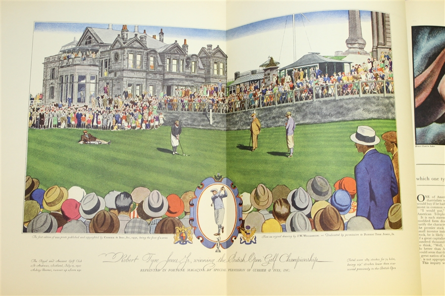 1930 Fortune Magazine w/ Bobby Jones Wins British Open At St. Andrews Currier & Ives Print