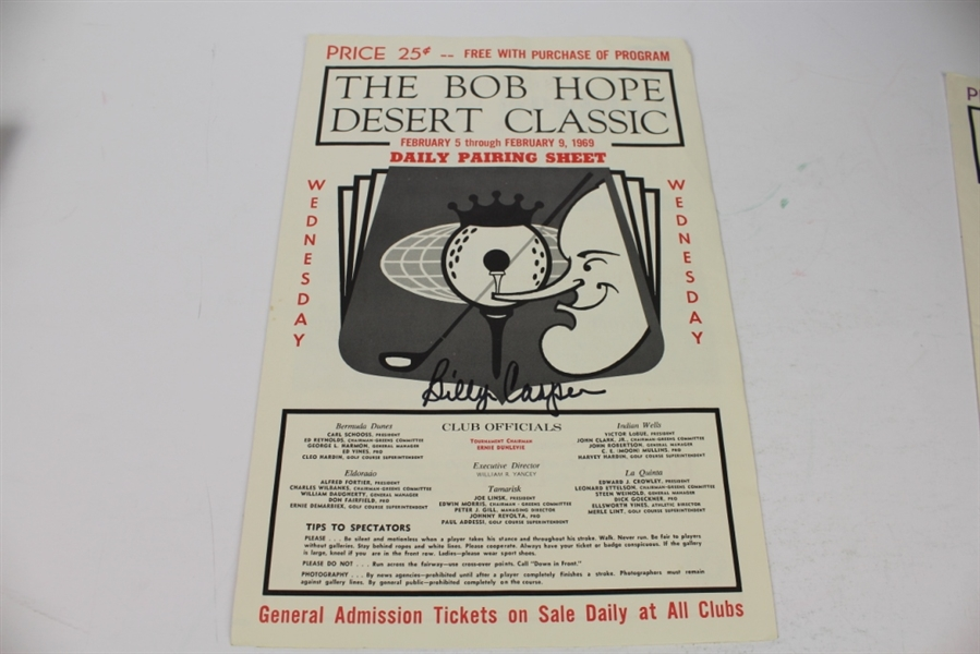 Three Billy Casper Signed 1969 Bob Hope Classic Pairing Sheets JSA ALOA