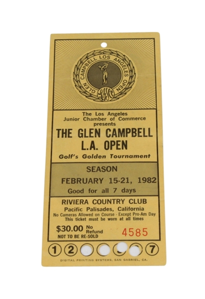 1982 Glen Campbell LA Open Tournament Ticket - Tom Watson Victory