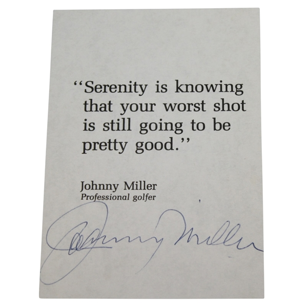 Johnny Miller Signed Inspirational Golfing Quote Card JSA ALOA