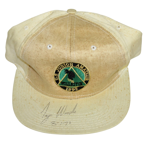 Tiger Woods Signed & Dated 1992 US Junior Amateur at Wollaston Hat JSA ALOA