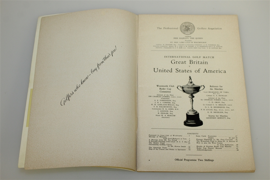 1953 Ryder Cup at Wentworth GC Official Program - USA 6 1/2 - 5 1/2
