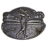 Sterling Silver Golfer Post-Swing with Clubs, Bag, & Clubhouse Themed Pin