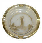 Circa 1940 Golfer Post-Swing Silver on Glass Ashtray