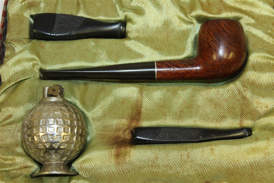 Briar Pipe with Mesh Golf Ball Lighter in Original Box