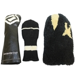 Three Black and White Vintage Headcovers