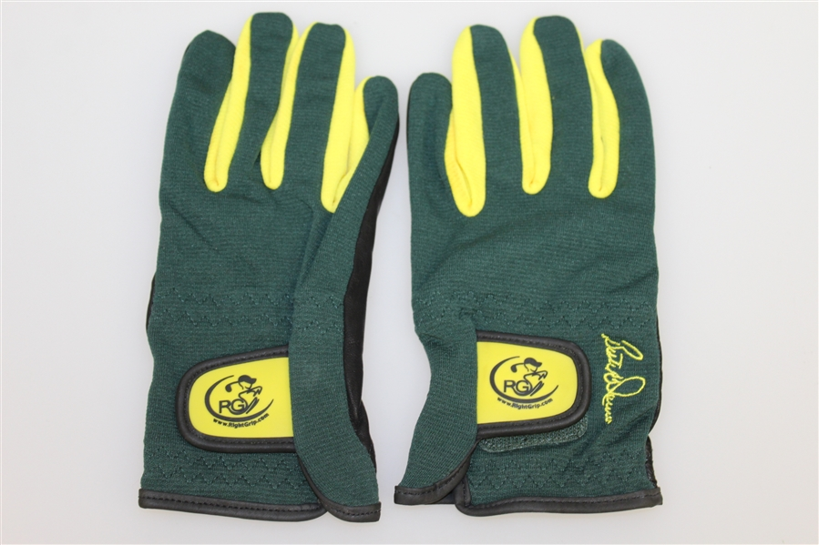 Butch Harmon Signed 'Right Grip' Green/Yellow Golf Gloves JSA ALOA